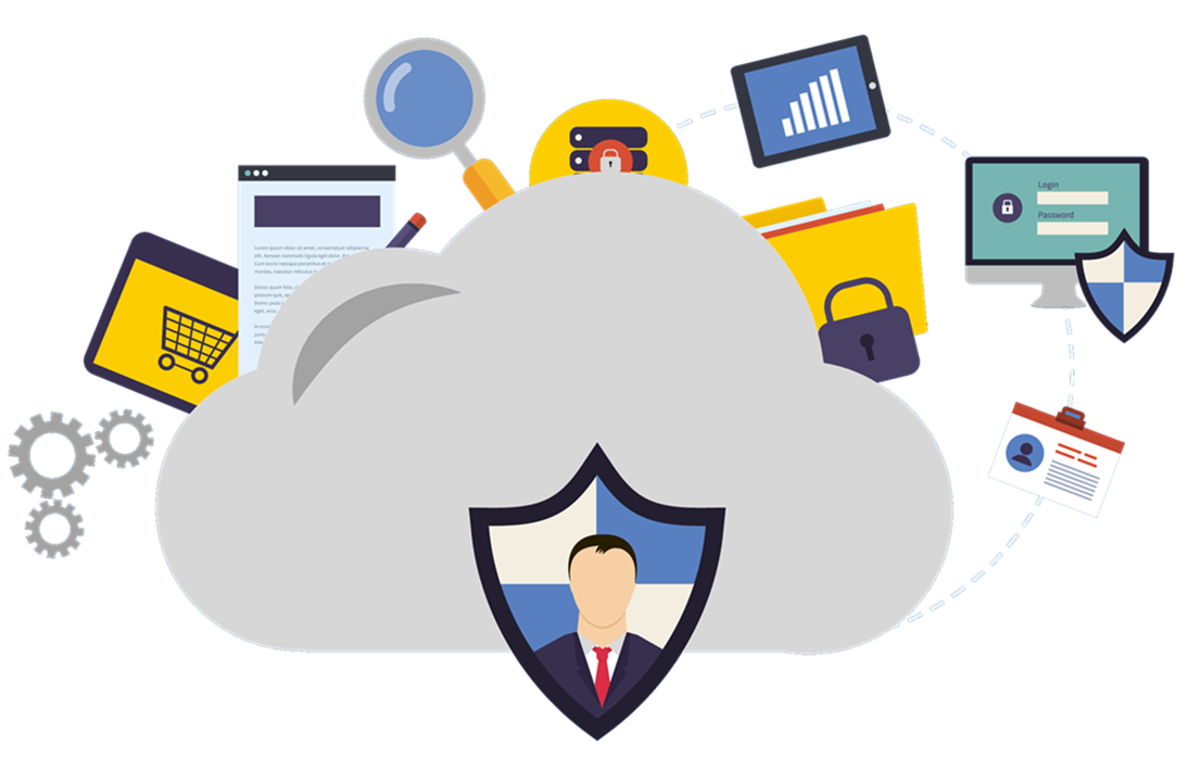 Flat image of a cloud surrounded by icons referring to IT security and other IT concepts.